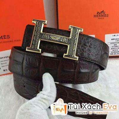 Thắt Lưng Hermes Super Da Cá Sấu Màu Nâu Khóa Vàng Đẹp
