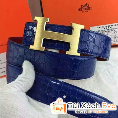 Thắt Lưng Hermes Super Da Cá Sấu Màu Xanh Khóa Vàng Đẹp