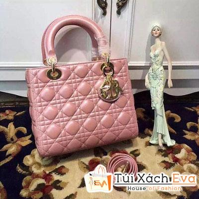 Túi Xách Dior Lady Siêu Cấp 5 Ô Màu Hồng Da Khóa Vàng Đẹp