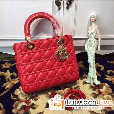 Túi Xách Dior Lady Siêu Cấp 5 Ô Màu Đỏ Khóa Vàng Đẹp