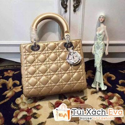 Túi Xách Dior Lady Siêu Cấp 5 Ô Màu Gold Khóa Bạc Đẹp