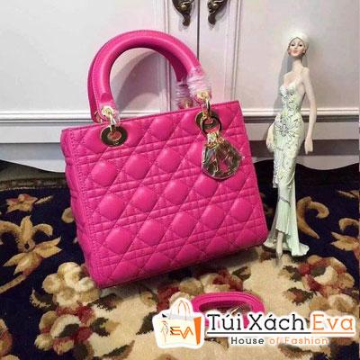 Túi Xách Dior Lady Siêu Cấp 5 Ô Màu Hồng Sen Khóa Vàng Đẹp