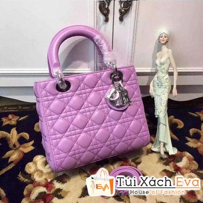 Túi Xách Dior Lady Siêu Cấp 5 Ô Màu Tím Khóa Bạc Đẹp