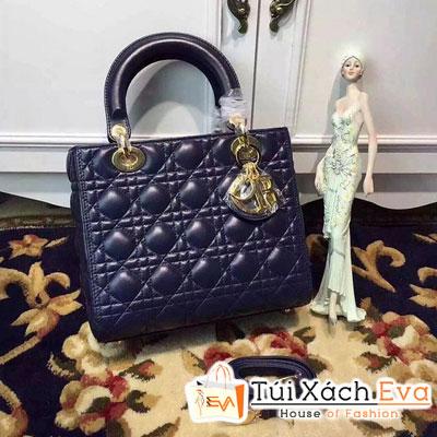 Túi Xách Dior Lady Siêu Cấp 5 Ô Màu Xanh Coban Khóa Vàng Đẹp
