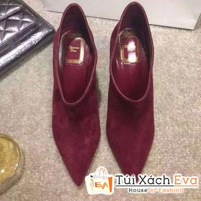 Giày Boot Cao Gót Dior Màu Đỏ Tía Đẹp