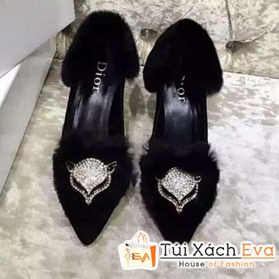 Giày Cao Gót Đính Bông Dior Màu Đen Đẹp