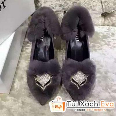 Giày Cao Gót Đính Bông Dior Màu Xám Đẹp