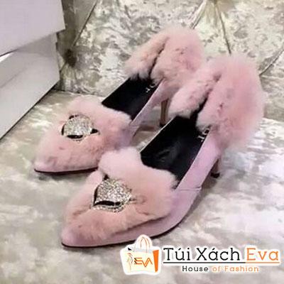 Giày Cao Gót Đính Bông Dior Màu Hồng Phấn Đẹp