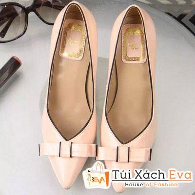 Giày Cao Gót Đính Nơ Dior Màu Hồng Phấn Đẹp