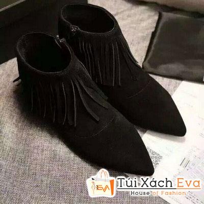 Giày Boot Đế Bằng Yves Saint Laurent Màu Đen Đẹp