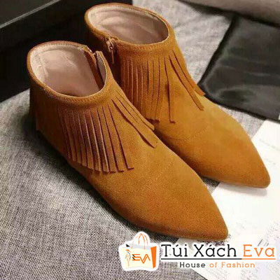 Giày Boot Đế Bằng Yves Saint Laurent Màu Da Bò Đẹp