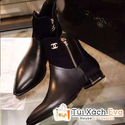 Giày Boot Da Chanel Màu Đen Đẹp