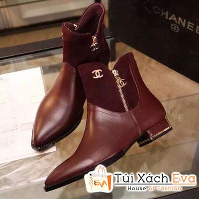Giày Boot Da Chanel Màu Đỏ Tía Đẹp