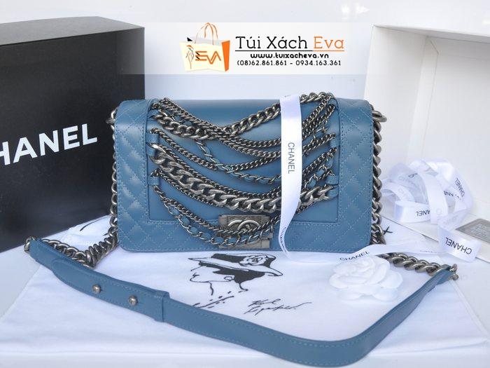 Túi Xách Chanel Boy Super Màu Xanh Da Trời Xích Đẹp