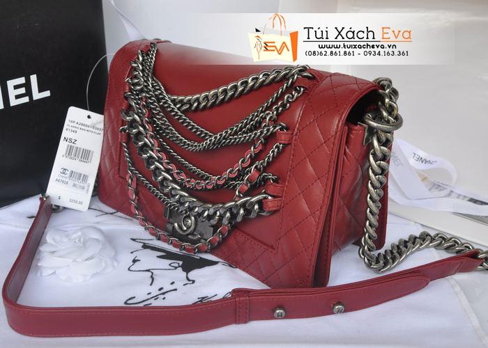 Túi Xách Chanel Boy Super Màu Đỏ Đô Xích Đẹp.