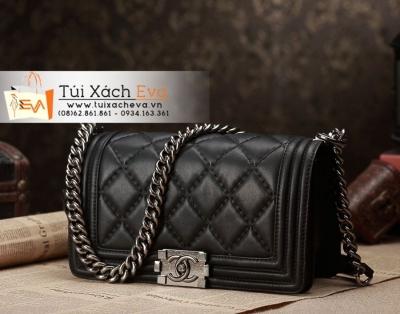 Túi Xách Chanel Boy Màu Đen  Khóa Bạc Siêu Cấp Đẹp