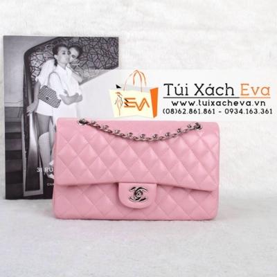 Túi Xách Chanel Classic Màu Hồng Phấn  Khóa Bạc Siêu Cấp  Đẹp