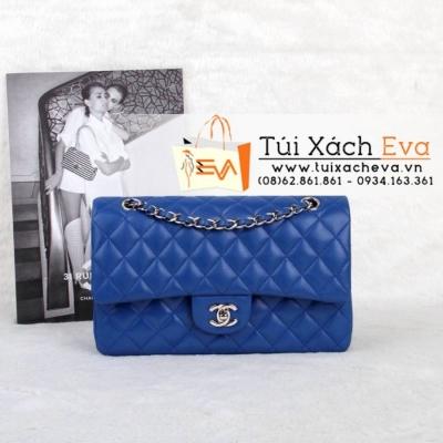 Túi Xách Chanel Classic Màu Xanh Cobalt Khóa Bạc Siêu Cấp  Đẹp