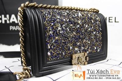 Túi Xách Chanel Boy Siêu Cấp Đính Đá Diamon Khóa Đồng Đẹp