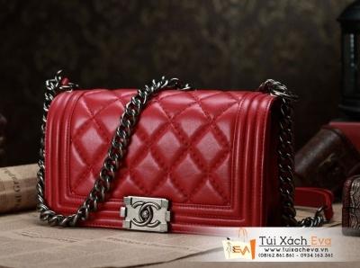 Túi Xách Chanel Boy Màu Đỏ Đô Khóa Bạc Siêu Cấp  Đẹp