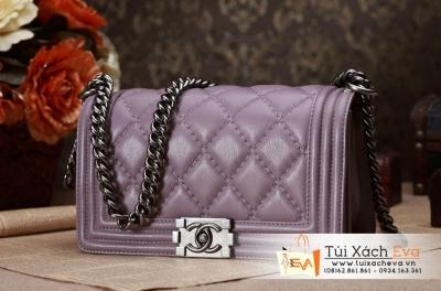 Túi Xách Chanel Boy Màu Khói Khóa Bạc Siêu Cấp  Đẹp