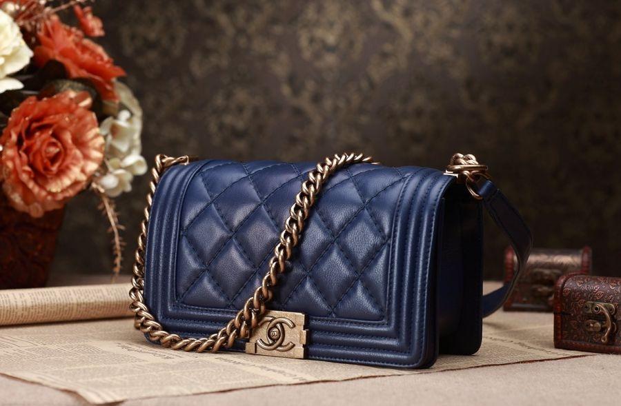 Túi Xách Chanel Boy Màu Xanh Cobalt Khóa Vàng Siêu Cấp  Đẹp
