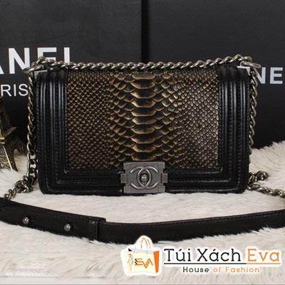 Túi Xách Chanel Boy Siêu Cấp Da Rắn Xích Bạc Màu Đen Đẹp