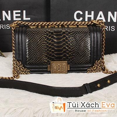 Túi Xách Chanel Boy Siêu Cấp Da Rắn Xích Vàng Màu Đen Đẹp