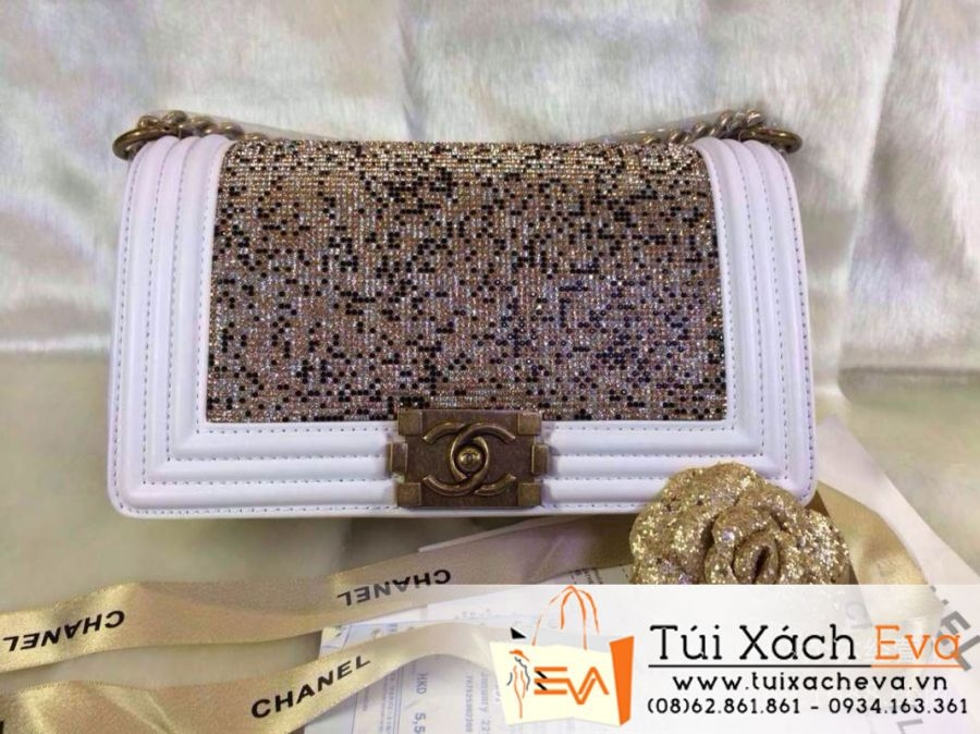 Túi Xách Chanel Boy Siêu Cấp 2014 Màu Trắng Đính Đá Đẹp