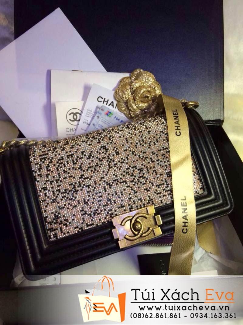 Túi Xách Chanel Boy Siêu Cấp 2014 Màu Đen Đính Đá Đẹp
