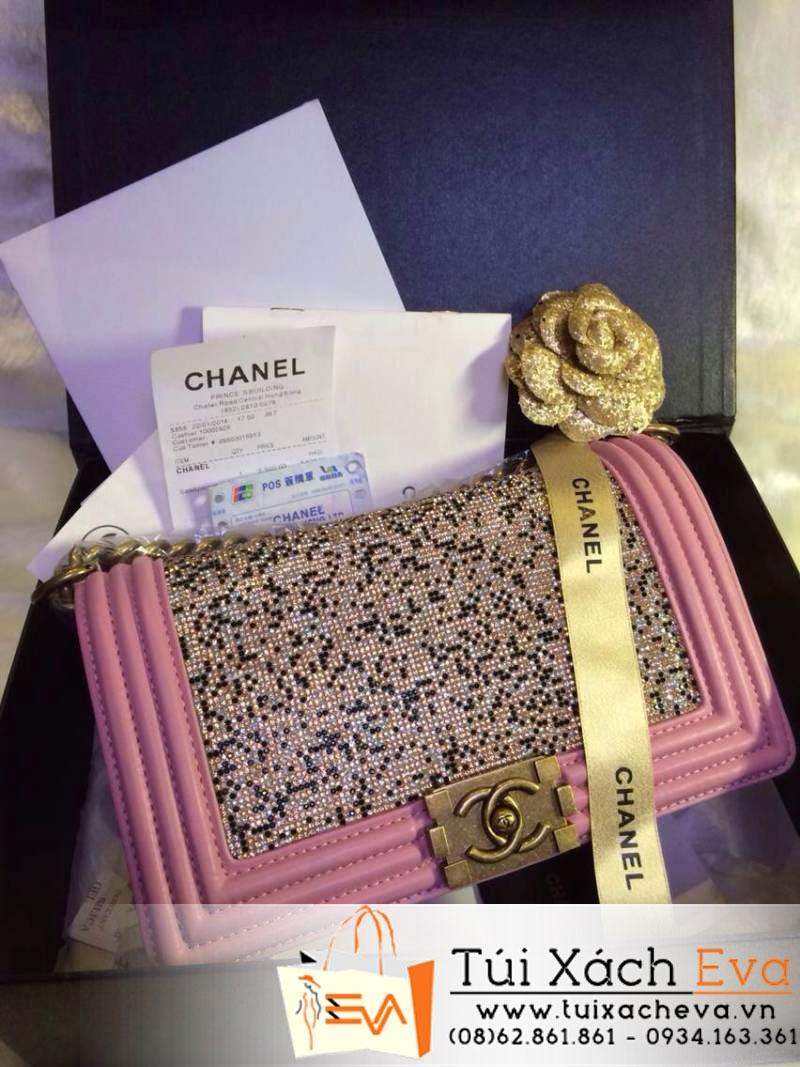 Túi Xách Chanel Boy Siêu Cấp 2014 Màu Hồng Phấn Đính Đá Đẹp