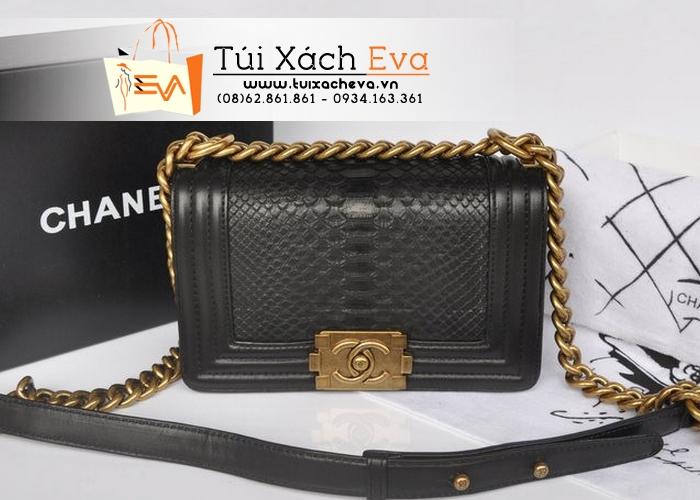 Túi Xách Chanel Boy Siêu Cấp Da Rắn Màu Đen Xích Đồng Đẹp