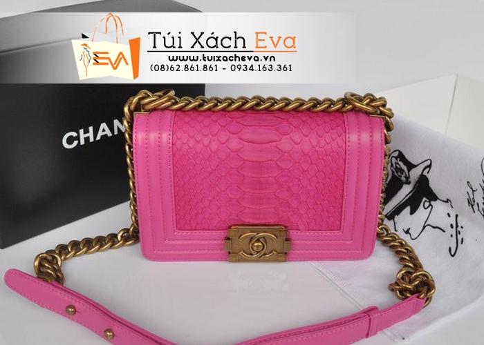 Túi Xách Chanel Boy Siêu Cấp Da Rắn Màu Hồng Xích Đồng Đẹp