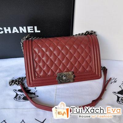 Túi Xách Chanel Boy Super Màu Đỏ Da Lì Đẹp