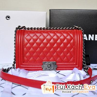 Túi Xách Chanel Boy Super Màu Đỏ Tươi Da Lì Đẹp