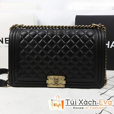 Túi Xách Chanel Boy Super Màu Đen Xích Vàng Size 28 Da Lì Đẹp