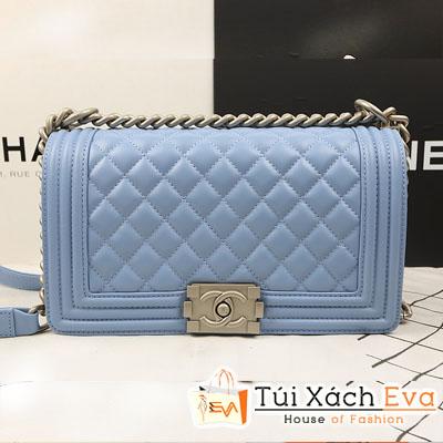 Túi Xách Chanel Boy Siêu Cấp Màu Xanh Da Trời Da Lì Size 25 Đẹp