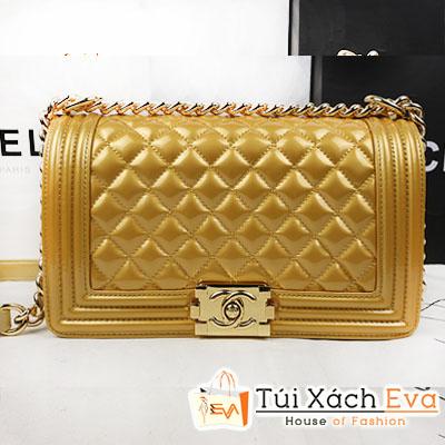 Túi Xách Chanel Boy Super Màu Gold Da Trơn Size 25 Đẹp