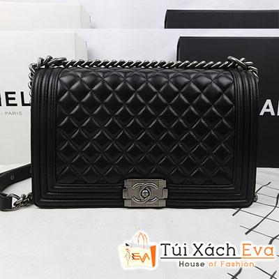 Túi Xách Chanel Boy Super Màu Đen Xích Bạc Size 28 Da Lì Đẹp