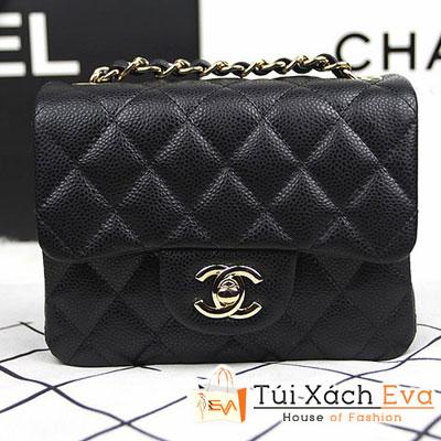 Túi Xách Chanel Classic Mini Super Màu Đen Da Hột Khóa Vàng Đẹp