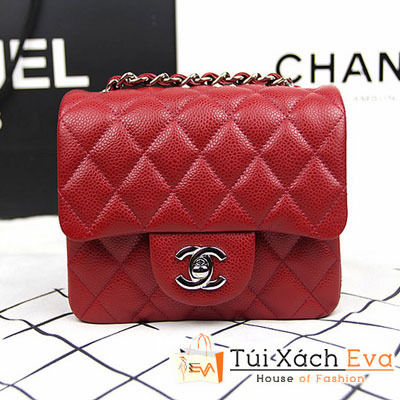 Túi Xách Chanel Classic Mini Super Màu Đỏ Tươi Da Hột Khóa Bạc Đẹp