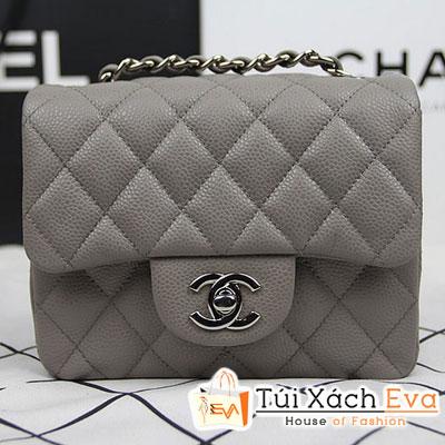 Túi Xách Chanel Classic Mini Super Màu Xám Da Hột Khóa Bạc Đẹp