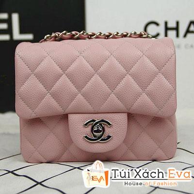 Túi Xách Chanel Classic Mini Super Màu Hồng Phấn Da Hột Khóa Bạc Đẹp
