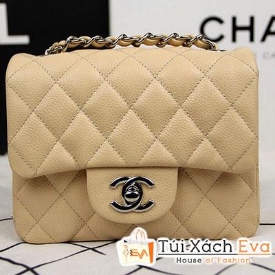 Túi Xách Chanel Classic Mini Super Màu Kem Da Hột Khóa Bạc Đẹp