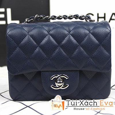 Túi Xách Chanel Classic Mini Super Màu Xanh Đen Da Hột Khóa Bạc Đẹp