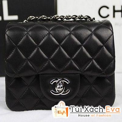 Túi Xách Chanel Classic Mini Super Màu Đen Da Lì Khóa Bạc Đẹp