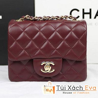 Túi Xách Chanel Classic Mini Super Màu Đỏ Đô Da Lì Khóa Bạc Đẹp