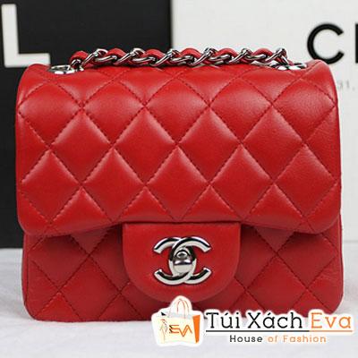 Túi Xách Chanel Classic Mini Super Màu Đỏ Tươi Da Lì Khóa Bạc Đẹp