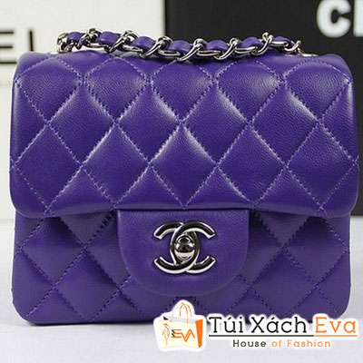 Túi Xách Chanel Classic Mini Super Màu Tím Da Lì Khóa Bạc Đẹp