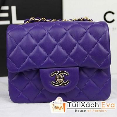 Túi Xách Chanel Classic Mini Super Màu Tím Da Lì Khóa Vàng Đẹp